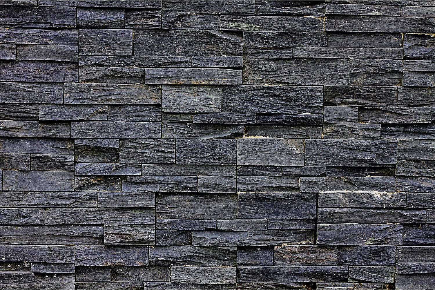 GREAT ART Poster – Black Stonewall – Picture Decoration Industrial Design Natural Dark Stone Realistic Wall Cladding Modern Bricks Image Photo Decor Wall Mural (55x39.4in - 140x100cm)
