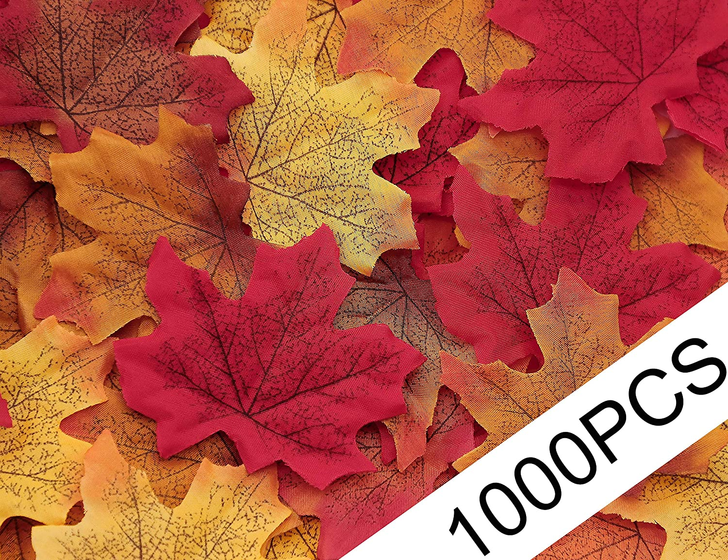 Moon Boat 1000PCS Fall Artificial Maple Leaves Thanksgiving Autumn Leaf Wedding Party Table Decor, Multicolored