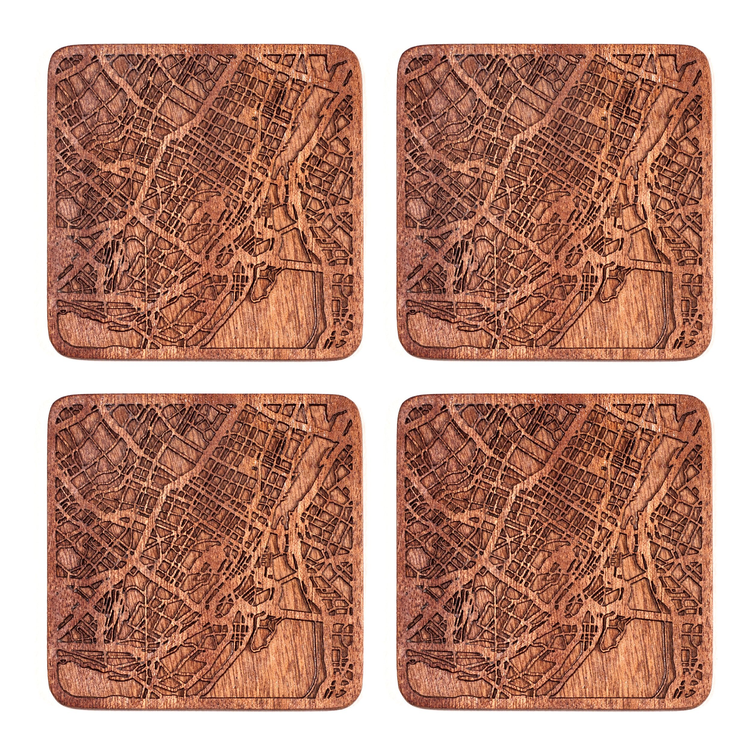 Montreal Map Coaster by O3 Design Studio, Set Of