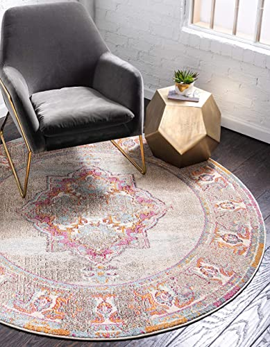 Unique Loom Medici Collection Casual Medallion Vibrant Colors Traditional Light Blue Round Rug 6 0 x 6 0