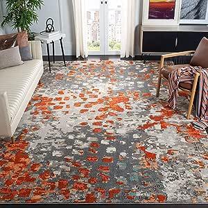 Amazon Com Safavieh Monaco Collection Mnc225h Boho Chic Abstract Watercolor Area Rug 8 X 11 Grey Orange Furniture Decor