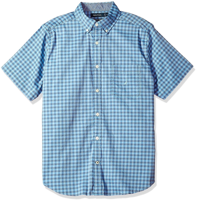 Nautica Mens Short Sleeve Slim Fit Plaid Button Down Shirt At