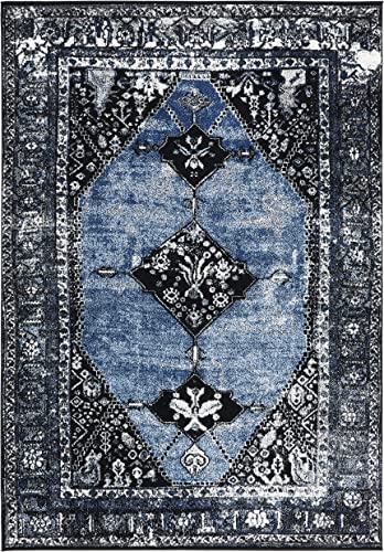 Safavieh Vintage Hamadan Collection VTH217M Traditional Oriental Distressed Area Rug, 8 x 10 , Blue Grey