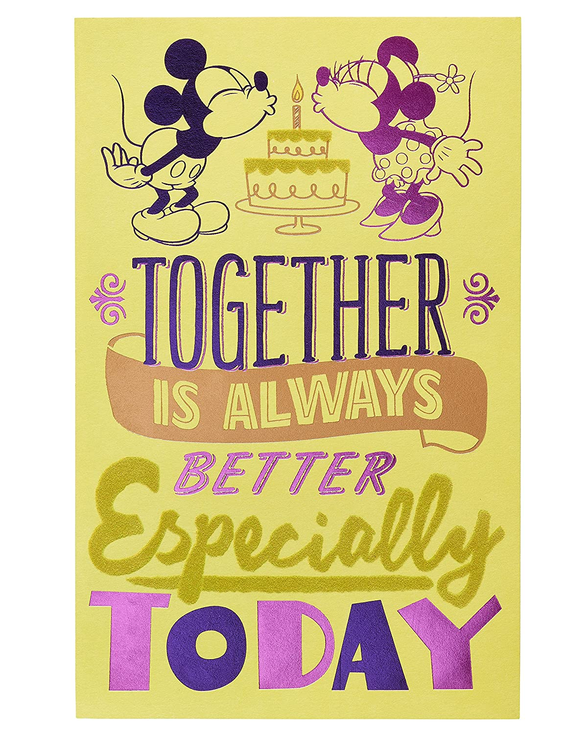 Amazon American Greetings Romantic Mickey Mouse Birthday Card With Foil Office Products