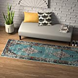 "Amazon Brand – Rivet Distressed Color Medallion Rug, 2'6"" x 8', Aqua"