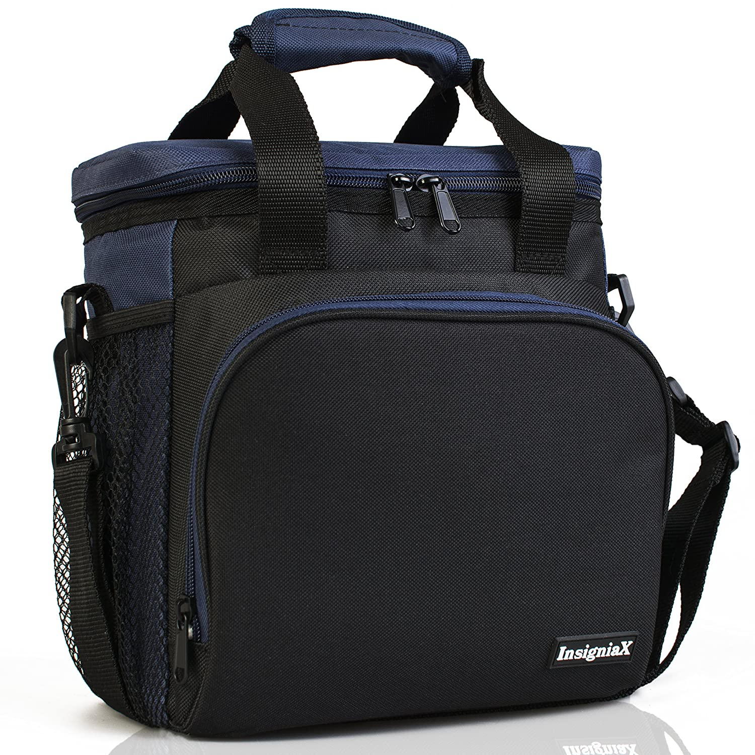 Insulated Lunch Bag S1/S2: InsigniaX Lunch Box/Cooler/Lunchbag for Adult Women Men Work School Picnic Kids Girls Boys With Strap Bottle Holder H: 10 x W: 5.1 x L: 9.2 (Standard, Black) Shopflex Limited