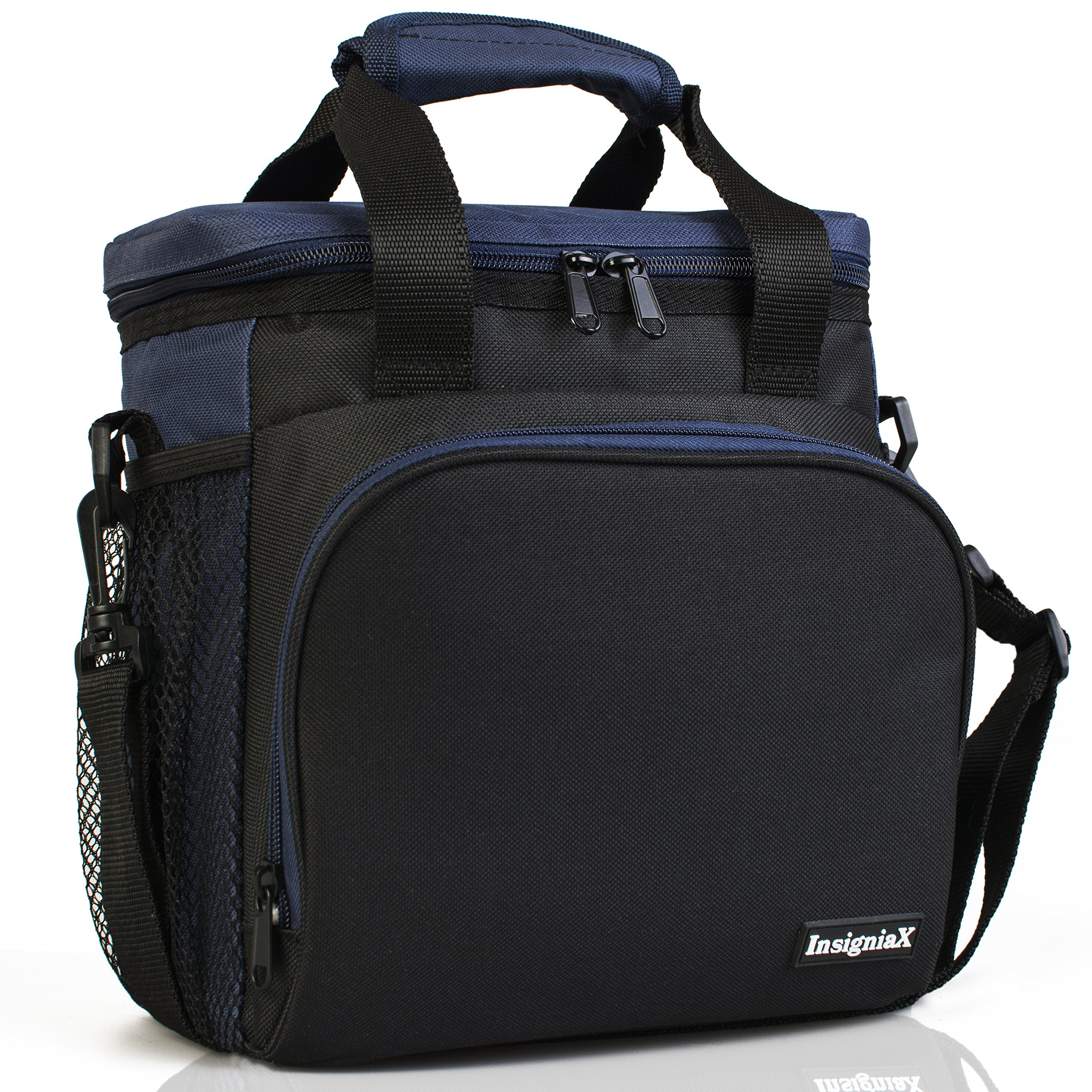 Insulated Lunch Bag S2: InsigniaX Cool Lunch Box/Cooler/Lunchbox for Adult Women Men Work School Kids Girls Boys With Shoulder Strap Water Bottle Holder H: 10'' x W: 5.1'' x L: 9.2'' (Standard,Navy Blue)