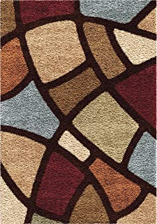 """product image for Orian Rugs Impressions Shag Circle Bloom Area Rug, 6'7"""" x 9'8"""", Multicolor"""