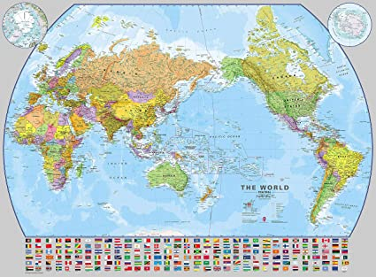 Amazon.com : Maps International Huge Pacific-Centered World ... on different world flags, different countries of the world, different boxes, different governments of the world, different mountains, types of maps, different flowers, thematic map, mappa mundi, different map projections, topographic map,