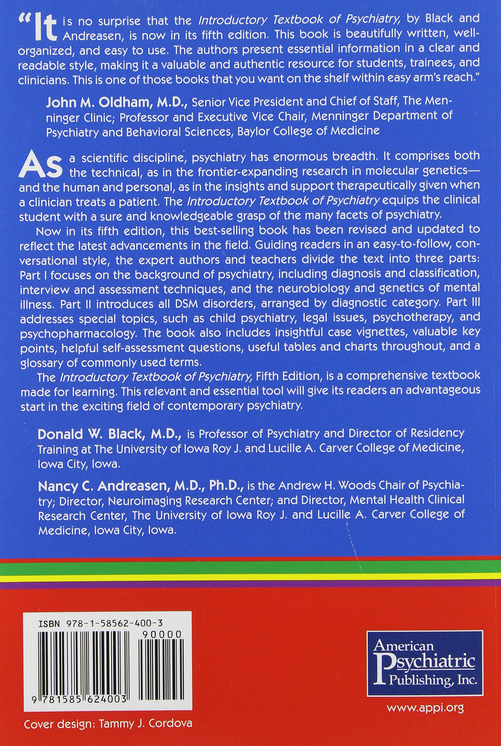 Introductory textbook of psychiatry donald w black 9781585624003 introductory textbook of psychiatry donald w black 9781585624003 psychiatry amazon canada fandeluxe Image collections