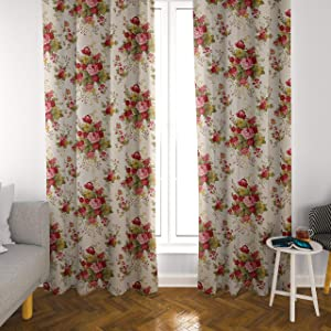 Atlas Home Floral Cotton Duck Curtain Panel Set for Living Room / Bedroom, 2 Panels, Farmhouse Curtains, French Country Curtains, 52x84 inch or 52x63 inch (Red, 63 inch)