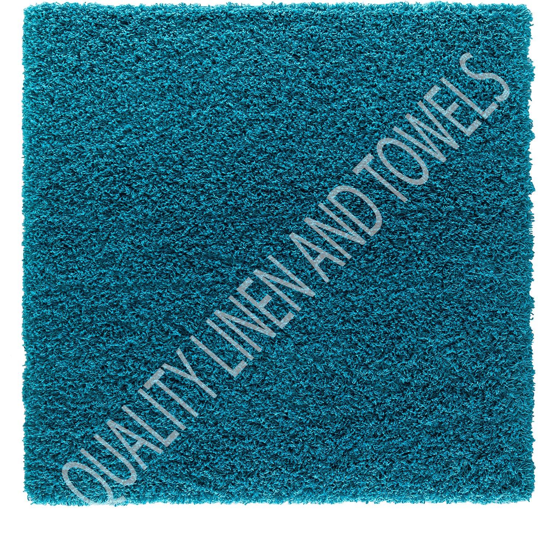 shaggy rug teal blue 963 plain 5cm thick soft pile 160cm x 230cm