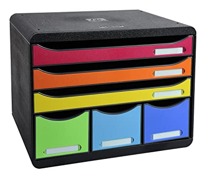Exacompta 306798D - Caja organizadora, 6 cajones, color multicolor