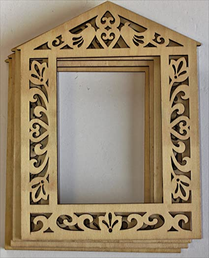Amazoncom Cardinal Arts Crafts Laser Cut 5x7 Wood Frame Set Of 4