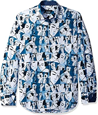 Bugatchi Mens Long Sleeve Pattern Woven Point Collar Button Down Shirt