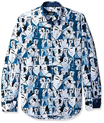 e4e6a192e61fd Bugatchi Men s Shaped Fit Conversational Pattern Point Collar Woven Button  Down Shirt  Amazon.co.uk  Clothing
