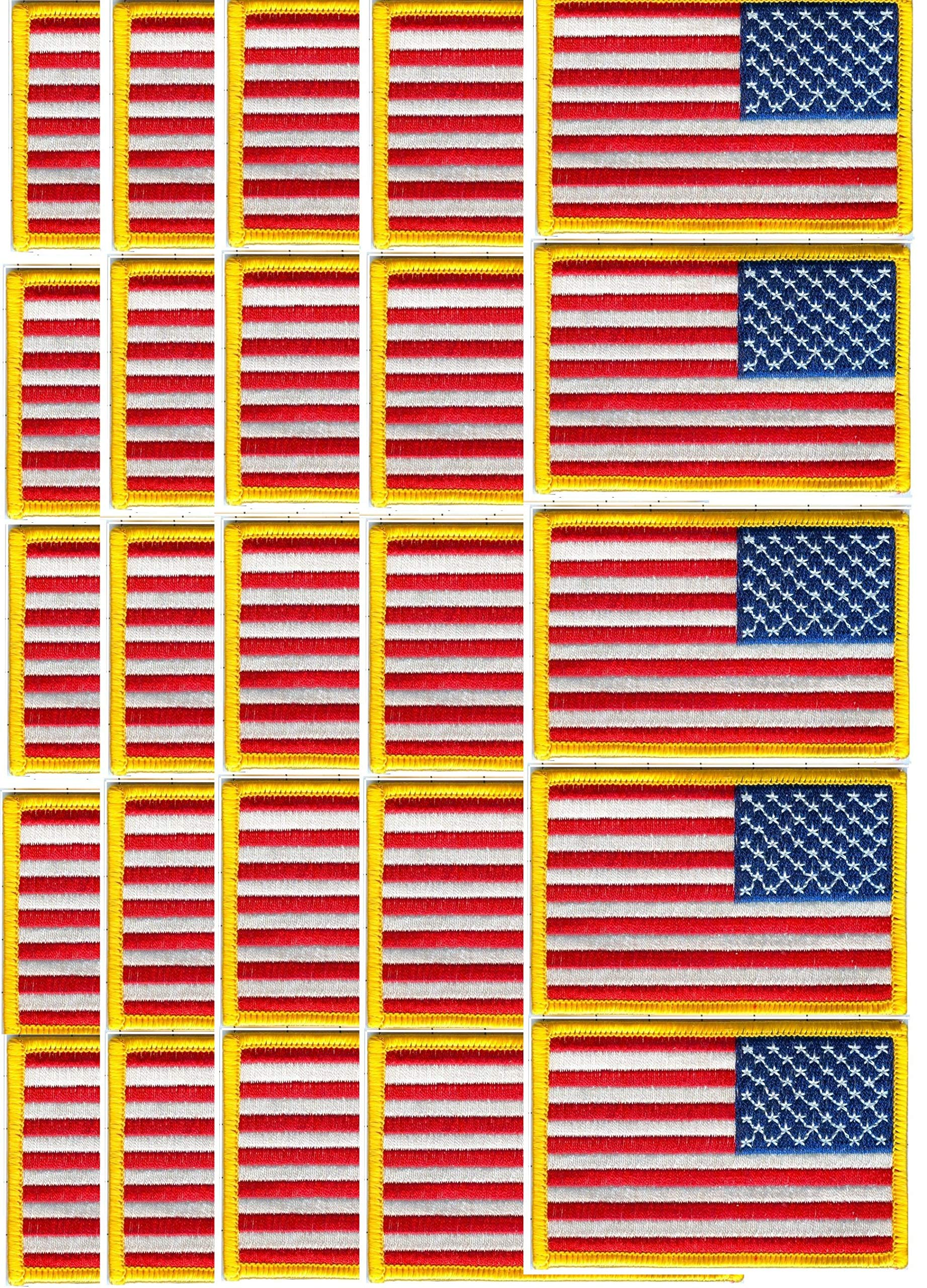 US Flag Patch 100% Embroidered Star Field Right Gold Border 3 1/2'' X 2 1/4'' Lot of 100@0.50ea by Cinnamon Orchid Patches
