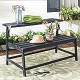 Safavieh PAT6753B Collection Ruben Grey Balcony Bench and Table Outdoor Set, Dark Slate Gray