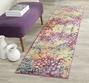 """Safavieh Monaco Collection MNC225D Modern Boho Abstract Watercolor Runner, 2' 2"""" x 8', Pink/Multi"""