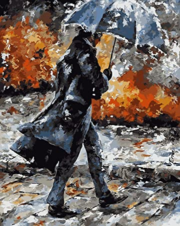 Man in the Rain - DIY Oil Painting Home Decor,Childrens Paint by Number kit