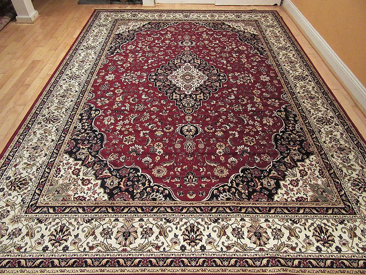 Persian silk ivory area rugs 6x8 red living room rug for Living room rugs amazon
