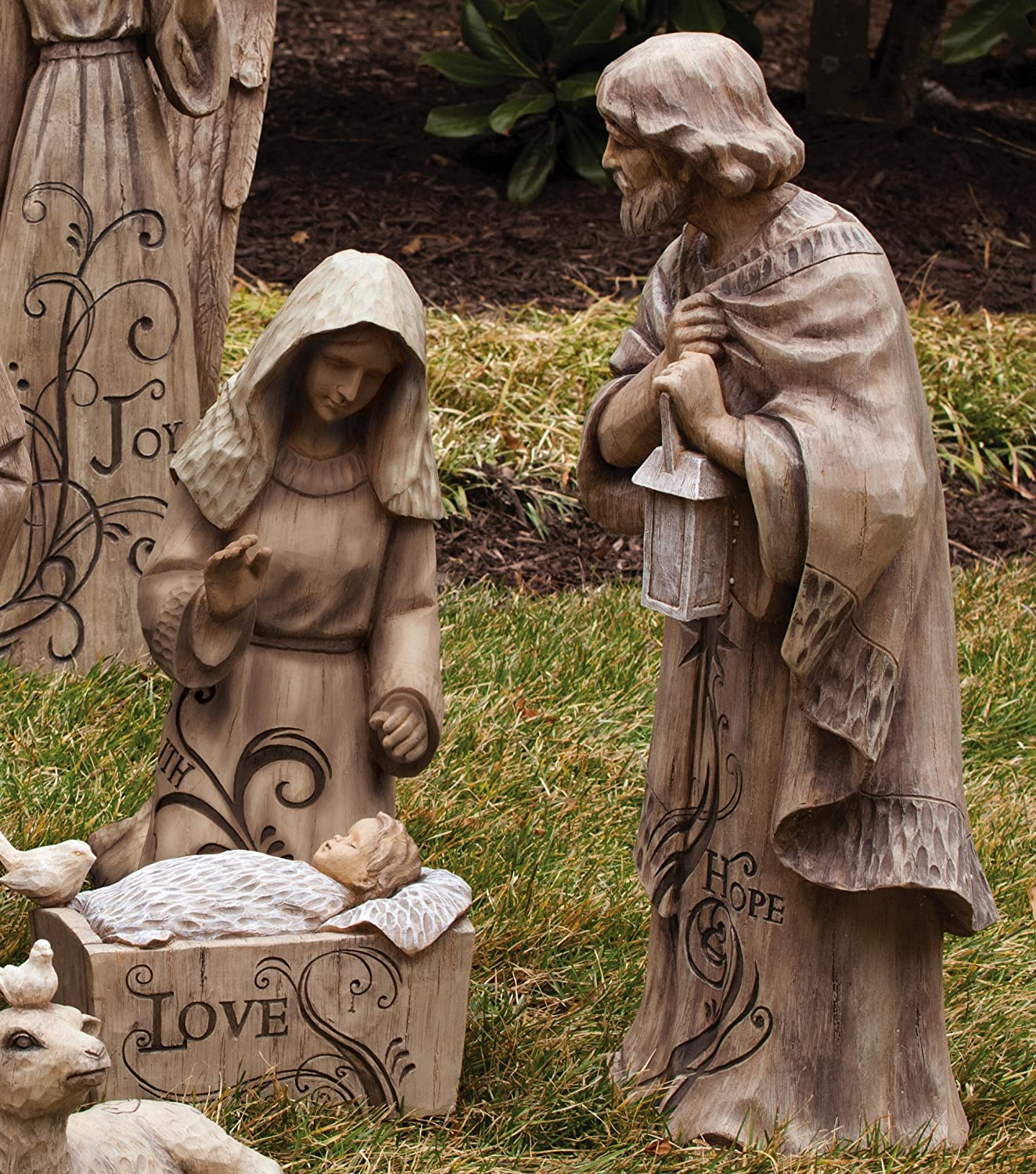 Gifted Living Mary, Joseph and Baby Jesus Large Nativity Trio Outdoor Statue