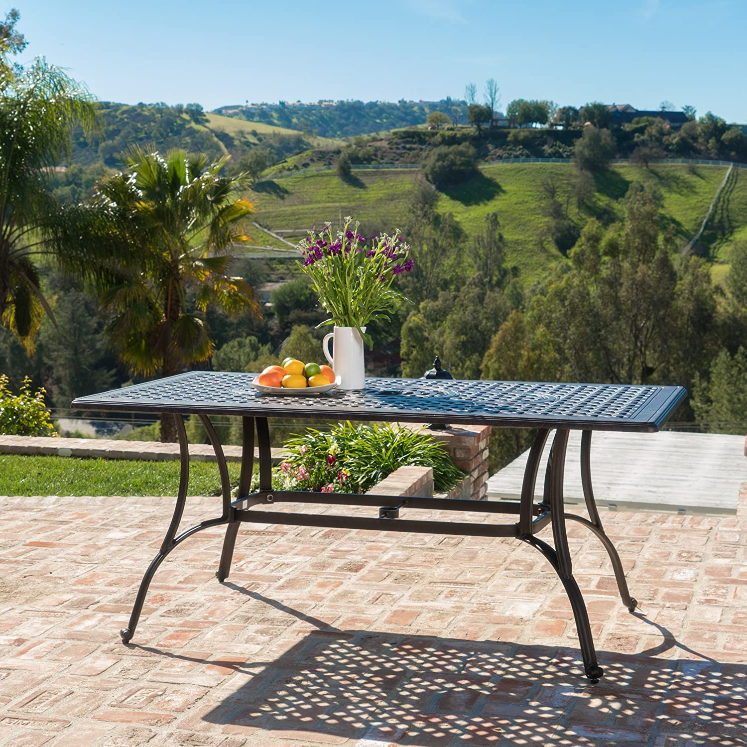 Christopher Knight Home 300275 Fonzo Cast Aluminum Outdoor Rectangular Dining Table in Bronze