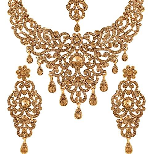 1ea5856e72f Buy Vatsalya Creation Traditional Diamond Necklace Set Gold Plated For  Women s Online at Low Prices in India