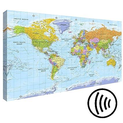 murando - Acoustic print World map - Pinboard 120x80 cm - wall print on