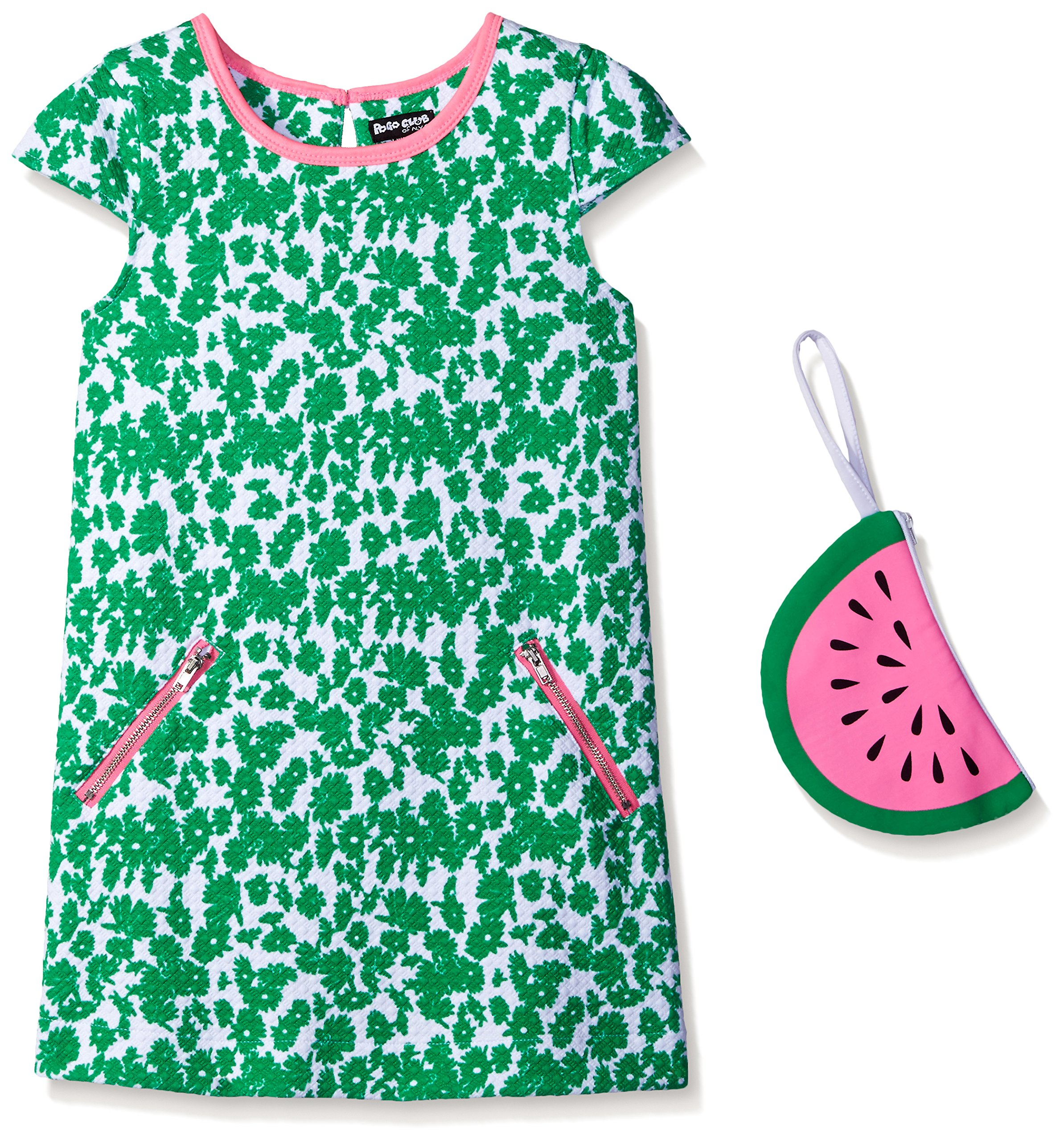 Pogo Club Little Girls Weekend in Newport Printed Textured Knit Dress with Bag Green Small/4