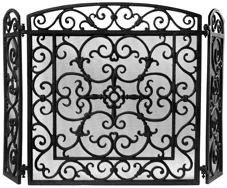 esschert PY27 Écran de cheminée en fonte Noir 61 x 59 x 21cm FF27B