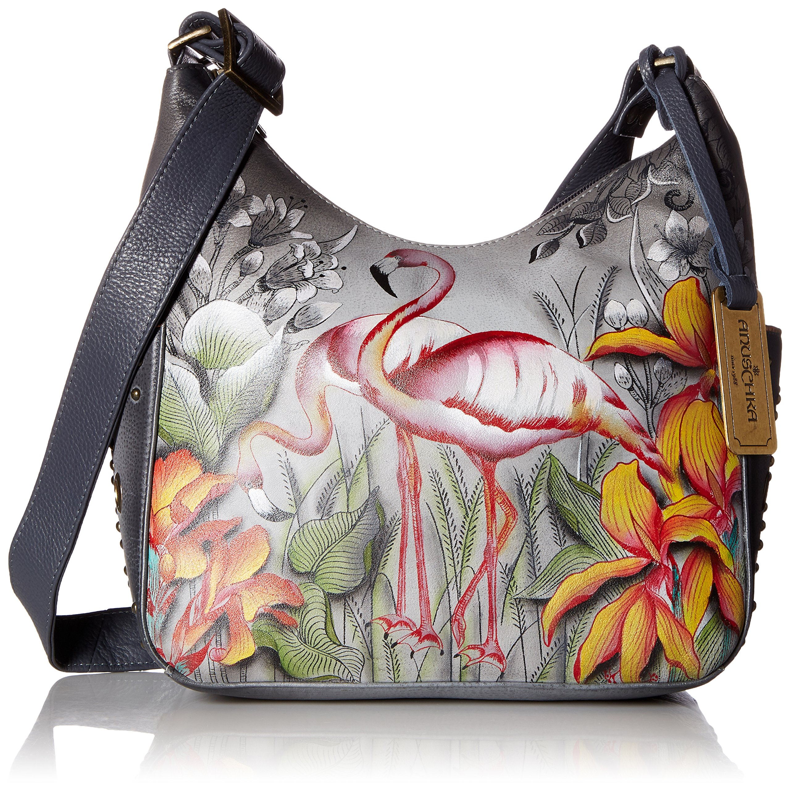 Anuschka Handpainted Leather Classic Hobo, Flamboyant Flamingos