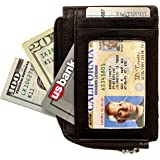 Full Voyage RFID Blocking Slim Wallet FV08 with Window for ID Badge, 7 Card Holder Slots - 270-Degree Zipper - Black Leather
