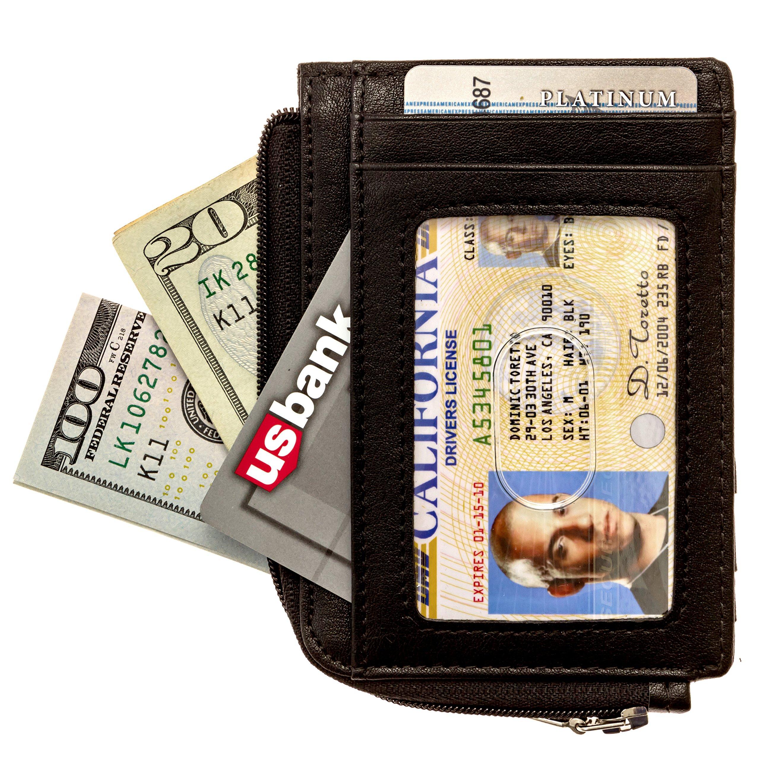 Full Voyage RFID Blocking Slim Wallet FV08 with Window for ID Badge, 7 Card Holder Slots - 270-Degree Zipper - Black Leather