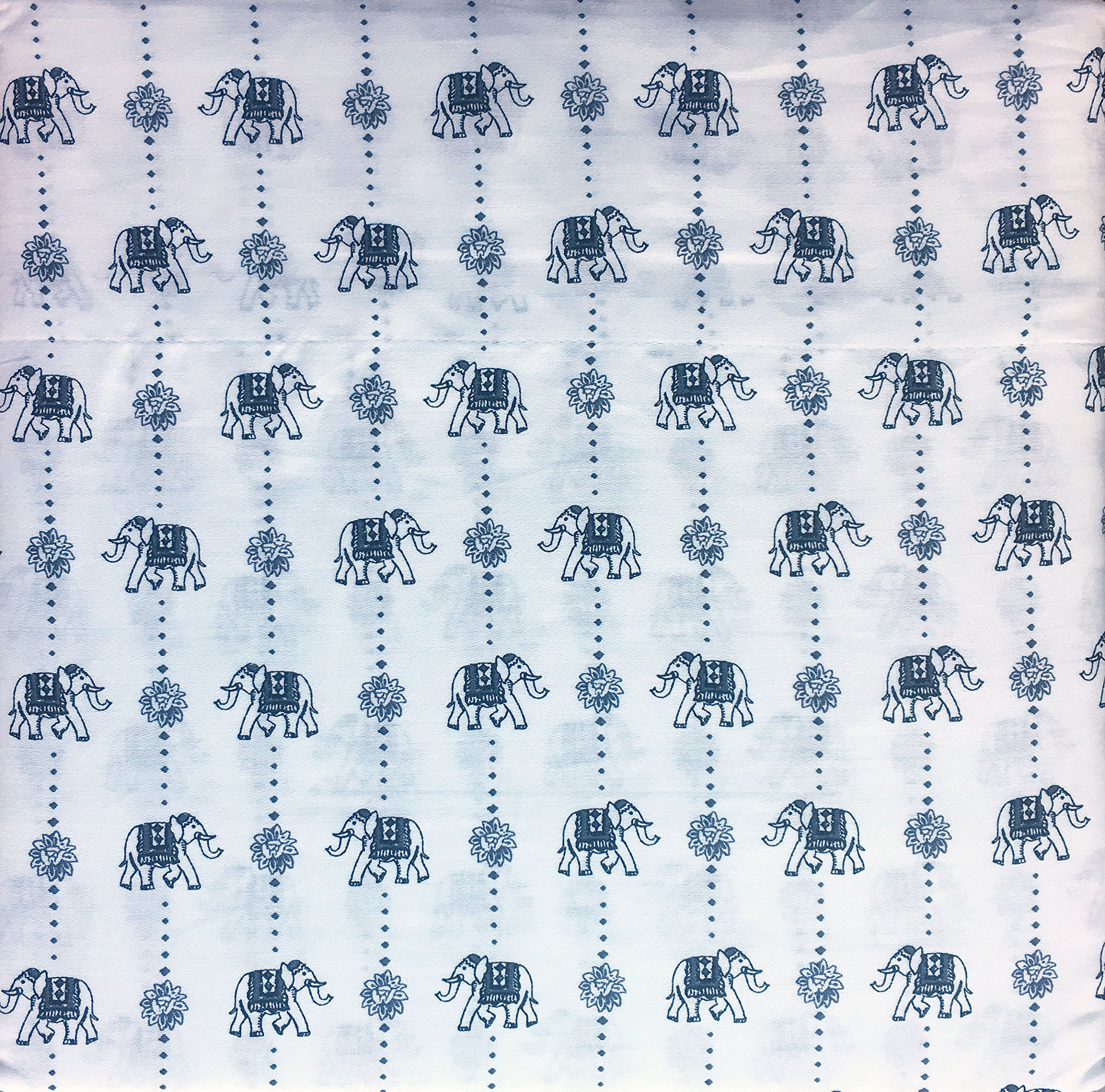 Classic Home Bedding Cotton King Size Bed Sheet Set, Decorated Elephants Geometric Blue on White Eastern Exotic Oriental, Extra Deep Pockets by The Classic Home (Image #1)
