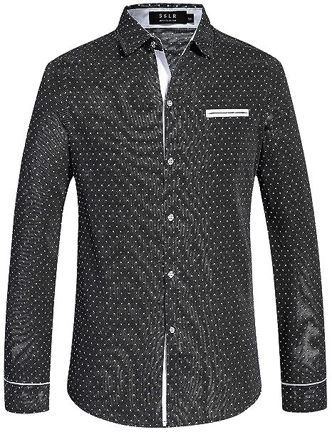 SSLR Camisa de Lunares de Manga Larga para Hombre Slim Fit Casual Polka Dot  Shirts ( 5eb8636090278