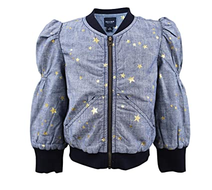 107ef971d Amazon.com: Blu & Blue New York Sitara gold star foil print bomber ...