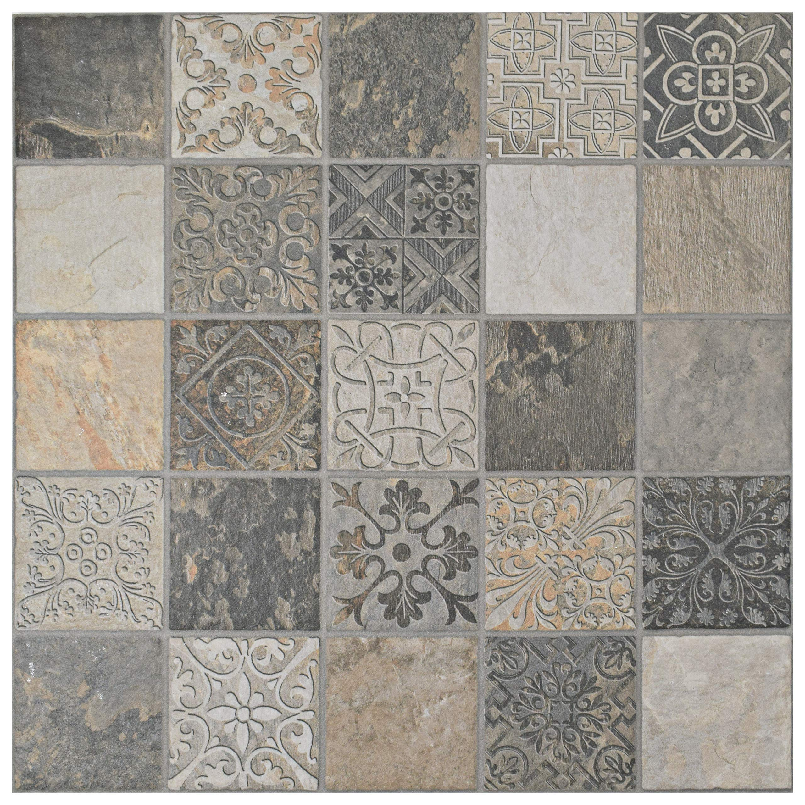 SomerTile FGFDECCA Caldazer Décor Ardesano Porcelain Floor and Wall Tile, 17.5'' x 17.5'', Grey/Beige/White