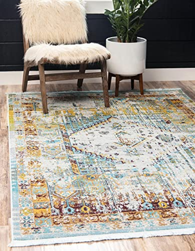 Unique Loom Baracoa Collection Bright Tones Vintage Traditional Light Blue Area Rug 8' 4 x 10' 0