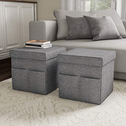 Lavish Home Foldable Storage Cube Ottoman with Pockets Multipurpose Footrest Organizer for Bedroom, Living Room, Dorm or RV Pair, Charcoal Gray ,