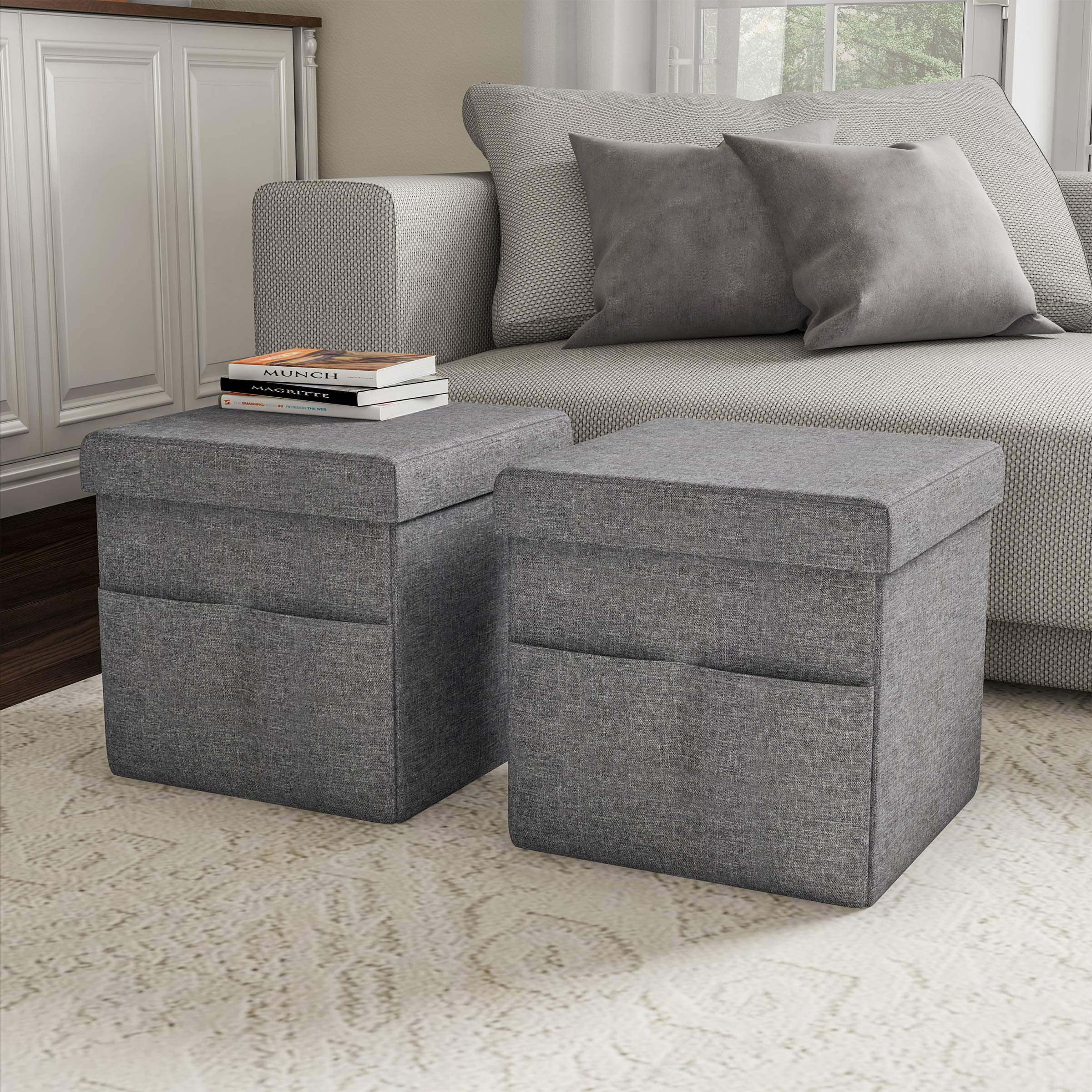 Lavish Home 80-FOTT-1 Foldable Storage Cube Ottoman with Pockets - Multipurpose Footrest Organizer for Bedroom, Living Room, Dorm or RV (Pair, Charcoal Gray), by Lavish Home