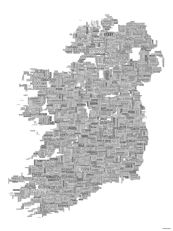 Map Of Ireland Black And White.Amazon Com Typographic Map Of Ireland 24 X32 Black On White