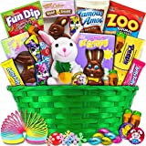 Classic Easter Gift Basket (Green) - Premade and Shrink-Wrapped, Kids, Boys, Girls - Filled with Candy, Chocolate, Toys, and More!!