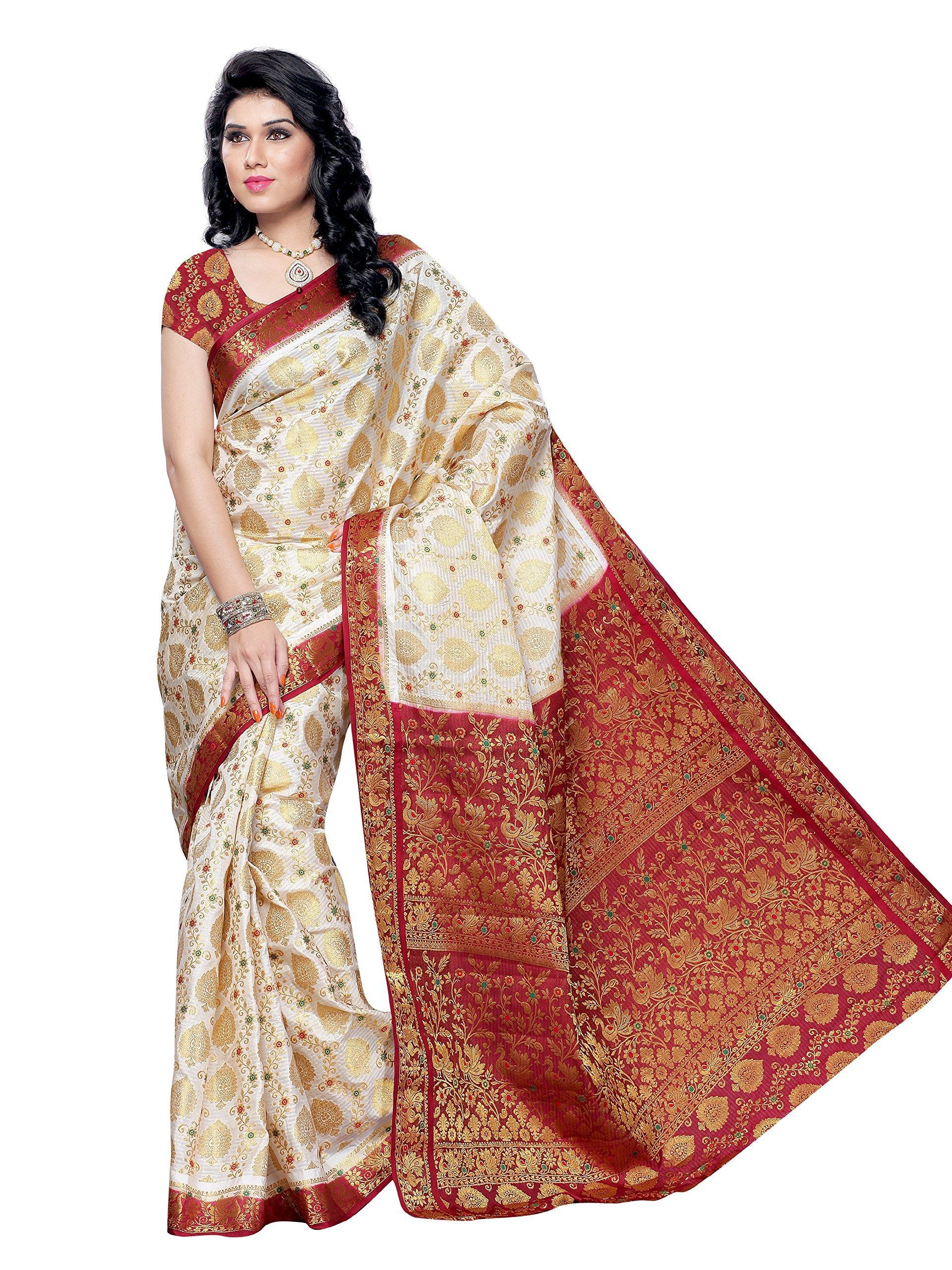 MIMOSA Art Kanchipuram Tassar Silk Saree/sari White(3050-65-HLFWHITEMARUN)