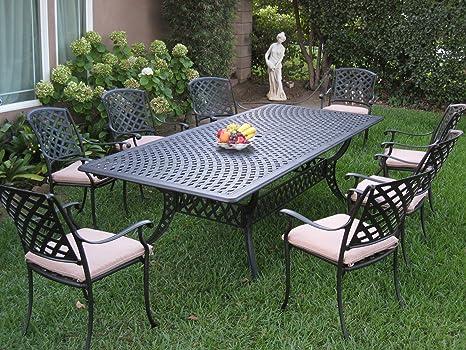 Al aire libre muebles de jardín de aluminio fundido 9 piezas ...