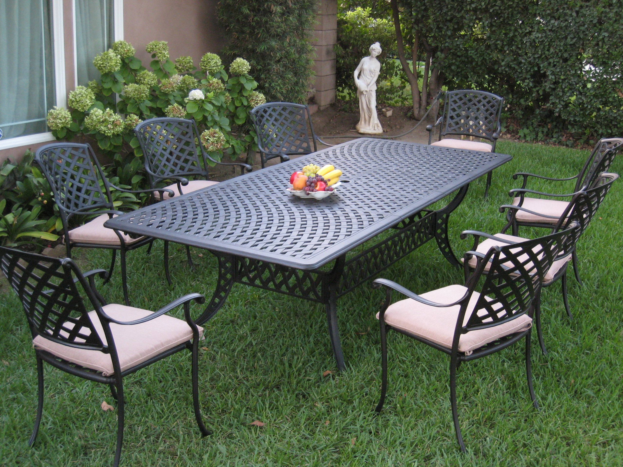 CBM Patio Kawaii Collection Cast Aluminum Outdoor Patio Furniture 9 Piece Extension Dining Table Set KL09KLSS260112T - CBM patio Kawaii Collection Cast Aluminum Outdoor Patio Furniture 9 Piece Extension Dining Table Set KL09KLSS260112T Kawaii Collections Made of genuine cast aluminum,Comfortable seating Durable and quality. Assembly required for Table legs only. Color: Desert Brown Slate Finish. Includes: 8 Armchairs and with free Cushions 1 table. - patio-furniture, dining-sets-patio-funiture, patio - A1%2BbqVdj9PL -