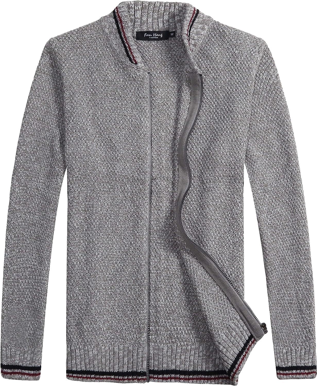 fanhang Mens Slim Fit Long Sleeve Zip Up Casual Cardigan Sweater Knitwear