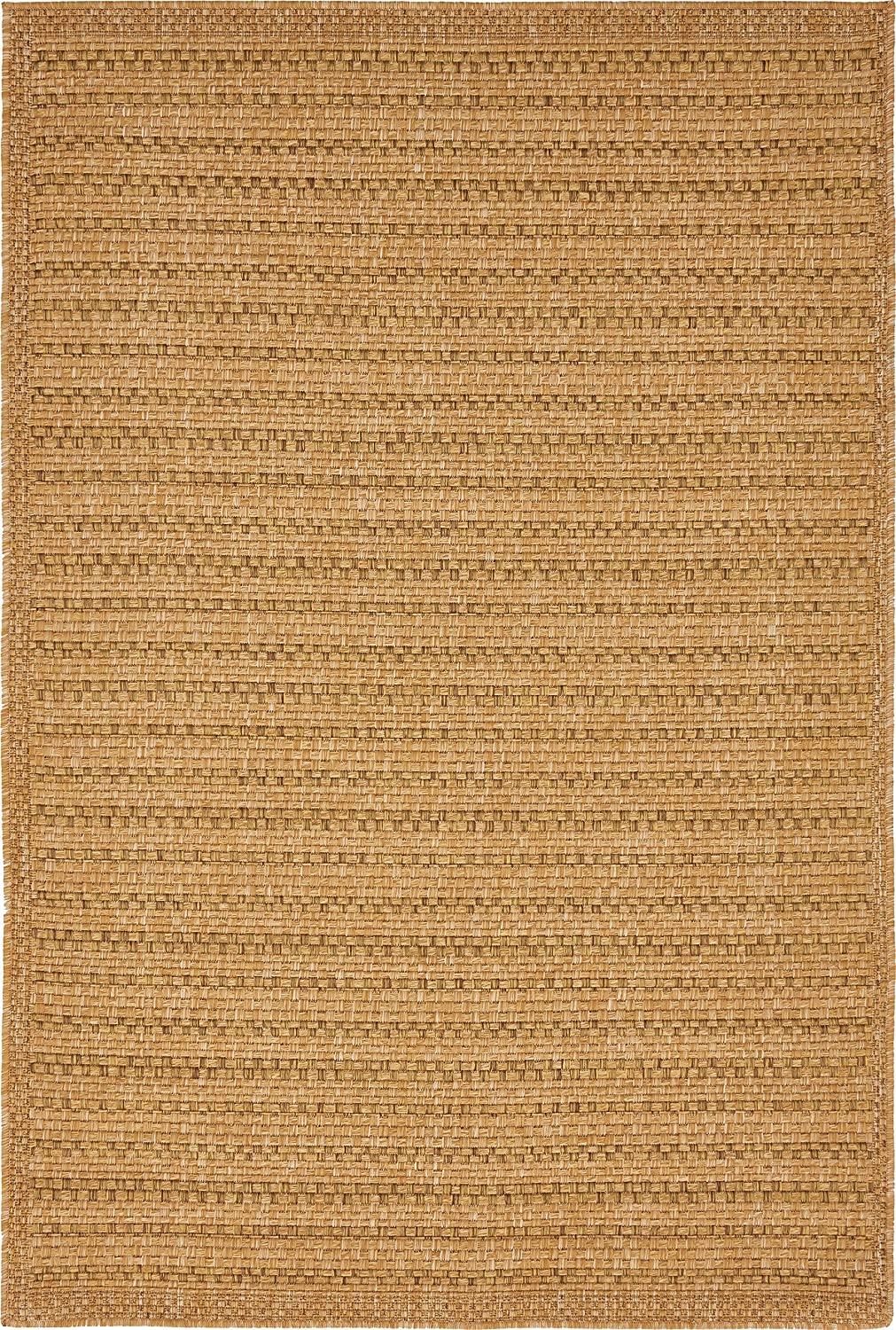 Unique Loom Outdoor Collection Light Brown Area Rug (4' x 6')