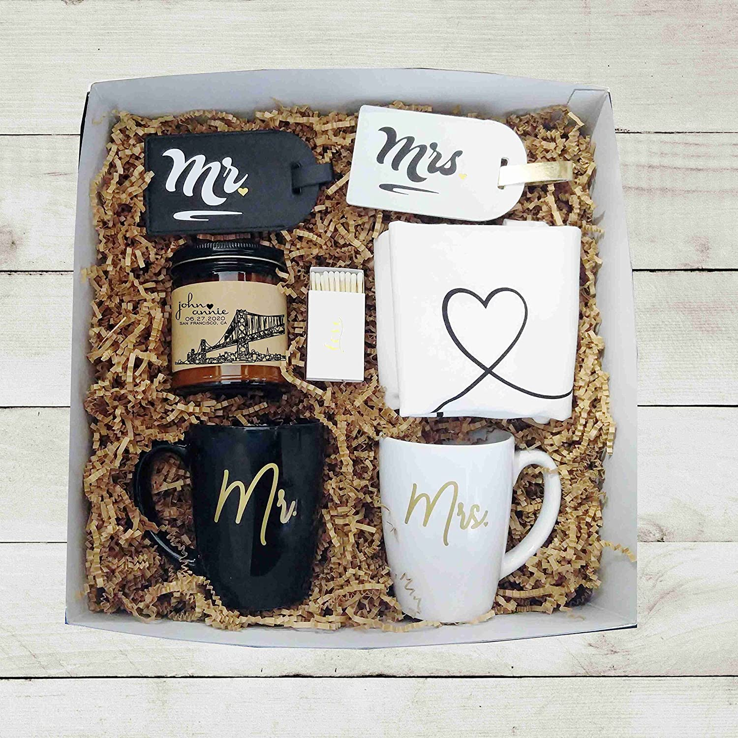 d08e71871cecd Amazon.com  Mr Mrs Wedding Gift Box Unique Wedding Gift Engagement Gift for  Couple Gift Box for Couple Holiday Gift for Bride and Groom Gift  Handmade