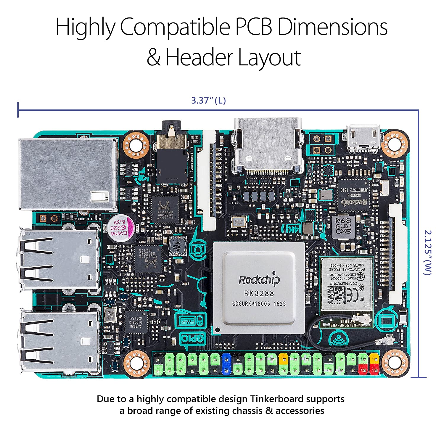 Asus Sbc Tinker Board Rk3288 Soc 18ghz Quad Core Cpu Simple Circuit 2 What Really Scared Me Back 600mhz Mali T764 Gpu 2gb Computers Accessories